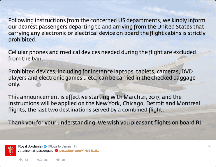 Royal Jordanian airways notifies its passengers that they will not be allowed to have tablet computers, laptops or game consoles on flights to and from the US