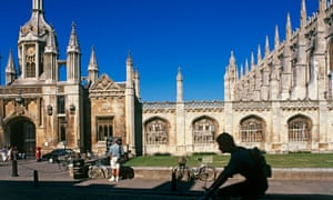 Cyclists outside the main entrance to King's College Cambridge