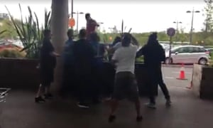 Screengrab from video posted on The Hunted One Facebook page shows members of vigilante group confronting man at Bluewater mall