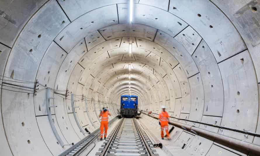 general view of the Crossrail cavern at Stepney Green