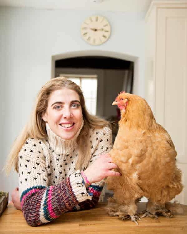 Tessa Fitch with her favourite fluffy Cochin chicken at home in Wiltshire.