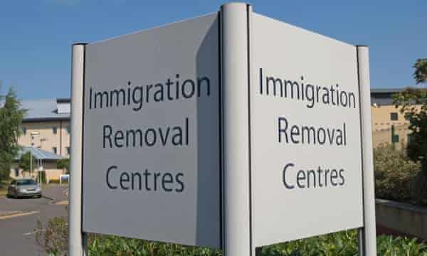 Sign for Colnbrook immigration removal centre, near Heathrow airport.