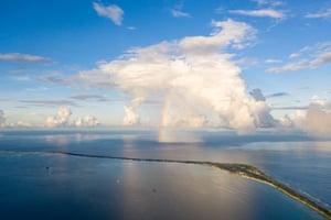 Aerial view of Fongafale island in the Funafuti atoll