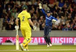 Bairstow appeals after catching Maxwell.