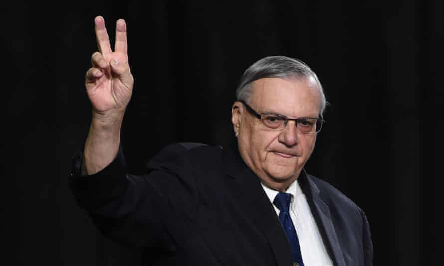 Sheriff Joe Arpaio attends a Donald Trump rally before the 2016 election.