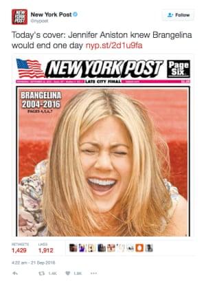The New York Post's reaction to the Brangelina split.
