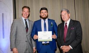 Abbas Nazari with US ambassador to New Zealand Scott Brown and NZ's deputy PM Winston Peters.
