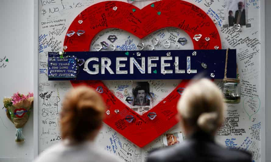 Messages of condolence at the base of Grenfell Tower.