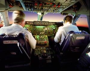 The cockpit on a 747.