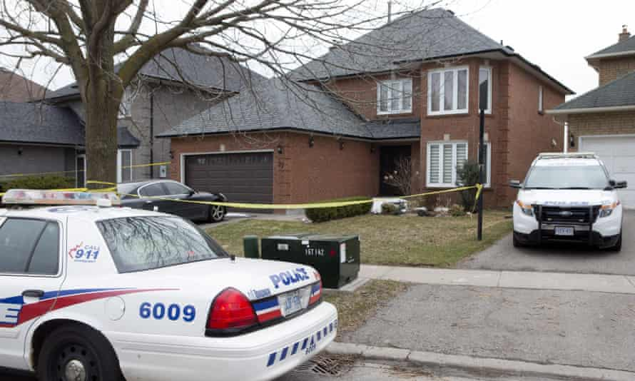 Police cars parked outside the Toronto area home of van attack suspect Alek Minassian on 24 April.