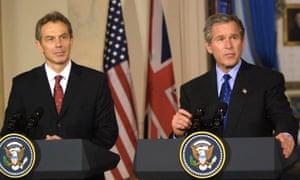 Tony Blair and George W Bush in January 2003.
