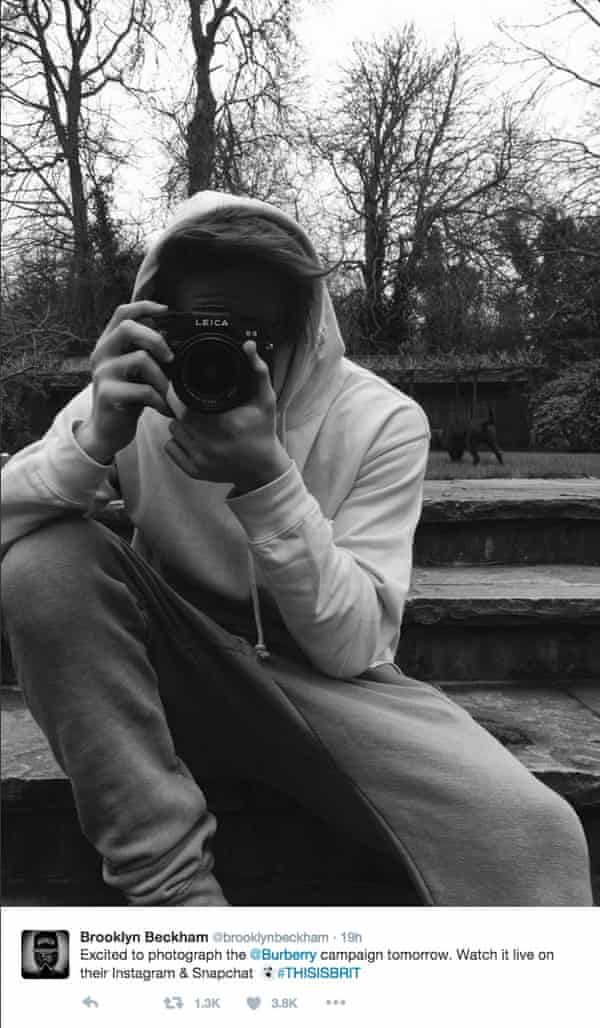 Brooklyn Beckham announces his shoot on Twitter.