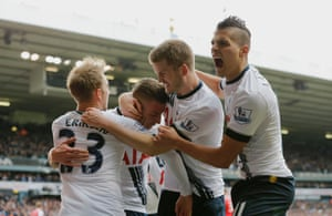 Toby Alderweireld is joined by his team-mates as they celebrate the equaliser.