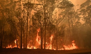 A bushfire in the town of Moruya, south of Batemans Bay, in New South Wales