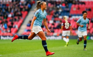 Georgia Stanway celebrates after scoring for Manchester City in the FA Cup final.