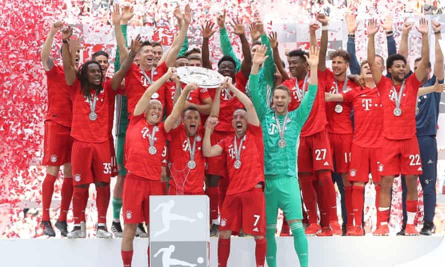 Bayern celebrate winning the Bundesliga.