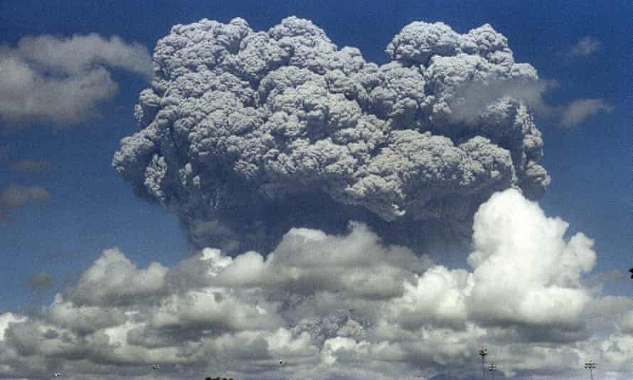 A giant cloud of steam and ash exploding out of Mount Pinatubo on 12 June, 1991.
