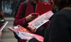 Labour activists with campaign leaflets