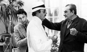 From left, the costume designer Piero Tosi, the actor Dirk Bogarde and the director Luchino Visconti on set for Death in Venice, 1971.