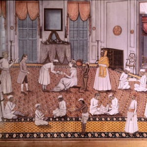 An Indian miniature showing the wife of a British officer attended by servants. circa 1785.