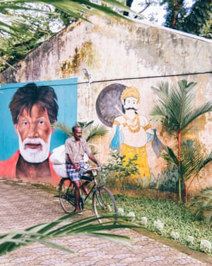 Man and god mural, Kochi. I've just come back from Kerala, in south-west India, and I loved it. The people are warm-hearted and there's such a variety of nature. I took this picture of a man and a deity in the Jew Town district of Fort Kochi, near India's biggest harbour. • Follow Marc's travels on Instagram.  • Follow Guardian Travel on Instagram, use the tag #guardiantravelsnaps