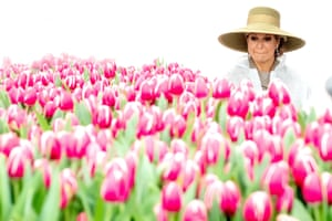 Bleiswijk, Netherlands Queen Máxima observes tulips during a state visit by the Singaporean president, Halimah Yacob (unseen)