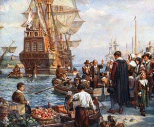 A 1752 painting by Bernard Gribble of the Pilgrim fathers boarding the Mayflower in 1620 for their voyage to America.