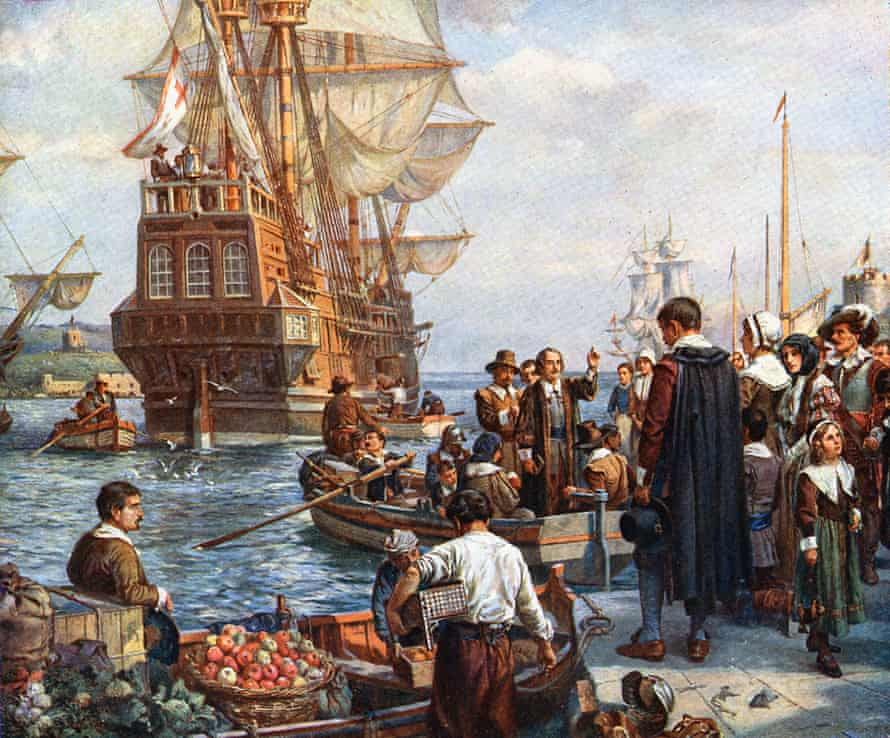 A painting by Bernard Gribble of the Pilgrim fathers boarding the Mayflower in 1620 for their voyage to America.