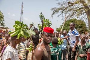 Toui, BeninA man looks on as protesters erect barricades during a demonstration against Benin President Patrice Talon