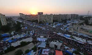 The pro-Morsi protest camp at Rabaa square in Cairo, 25 July 2013