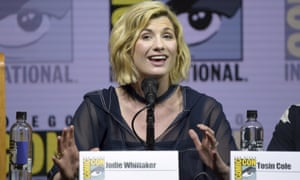 Jodie Whittaker speaks at the Doctor Who panel at Comic-Con in San Diego.
