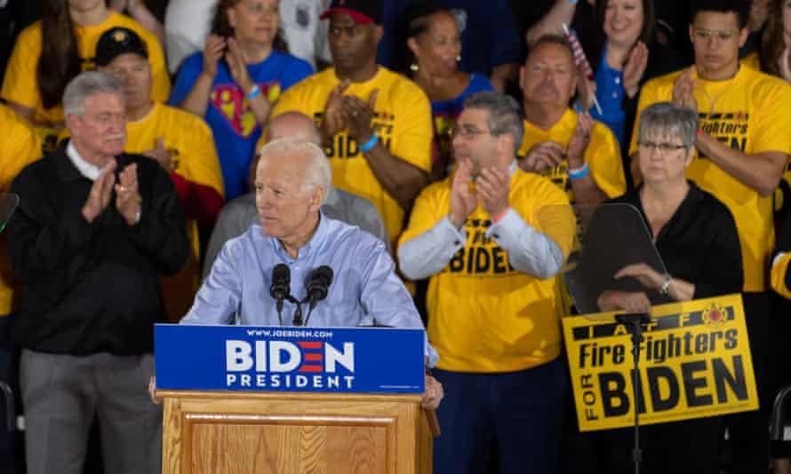 The former vice-president Joe Biden speaks at a campaign rally at Teamsters Local 249 union hall 29 April 2019 in Pittsburgh, Pennsylvania.