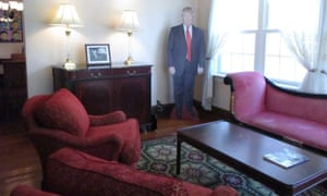 A giant cutout of Donald Trump inside his former childhood home.