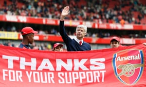 Arsène Wenger during the lap of honour at the end of the match.