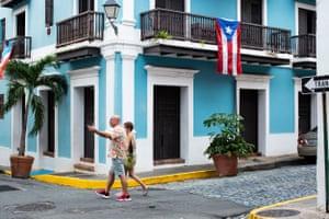 People walk in Old San Juan.
