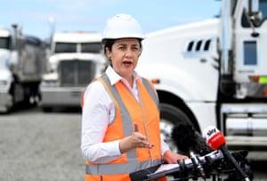 Queensland premier Annastacia Palaszczuk campaigns on the Gold Coast
