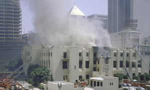Smoke engulfs the Los Angeles Public Library in the 1986 fire that destroyed 400,000 books