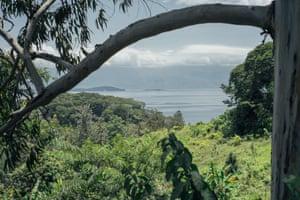 Lake Kivu, view from the mountains of Idjwi island.