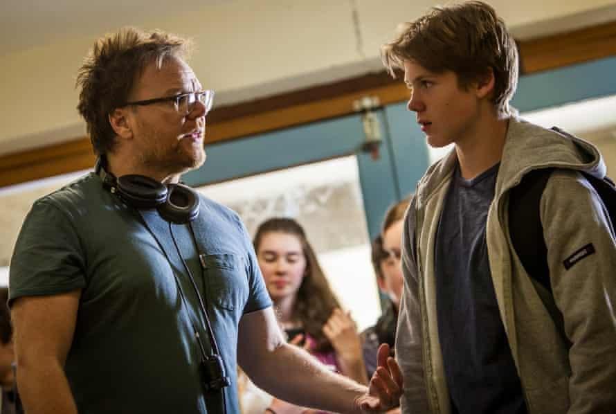 Heath Davis directs a young actor in his film Book Week