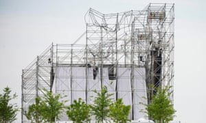 The collapsed stage at Downsview Park that killed Scott Johnson.