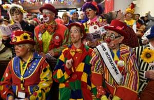 Clowns attend the Clowns International annual Joseph Grimaldi memorial service at All Saints in Hackney, London