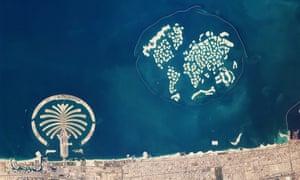 The artificial archipelagos Palm Jumeirah and The World, Dubai.