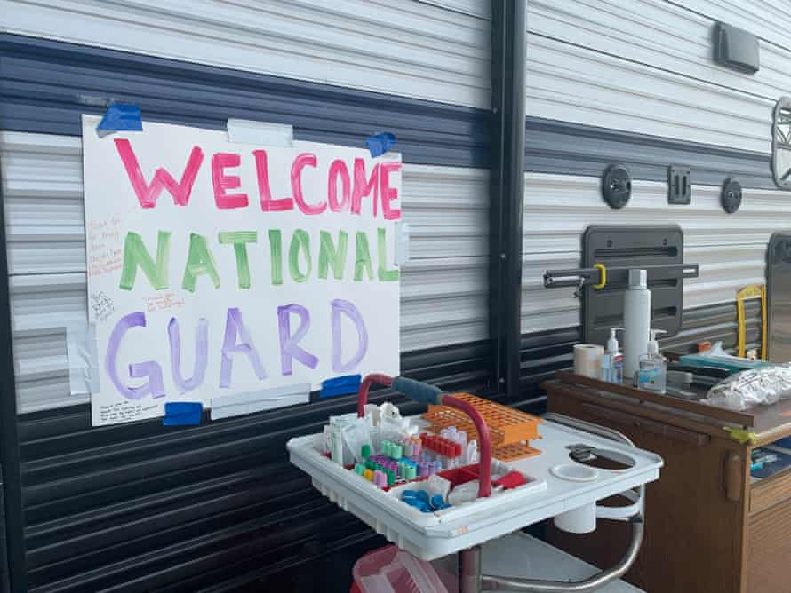 The national guard has been helping at the hospital's drive-through testing site.