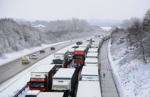 Stationary traffic on the M20 in Kent