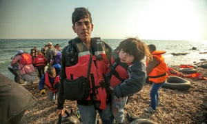 莱斯博斯的难民。