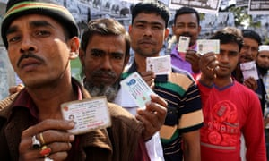 Voters queue outside a polling station in Dhaka on Sunday.