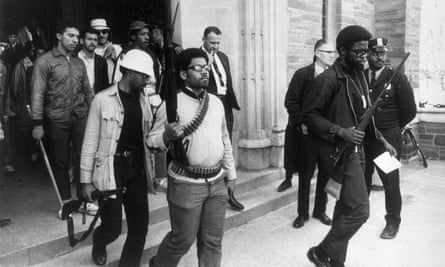Heavily armed African American students leave Straight Hall during a protest at Cornell University... 46 years ago.