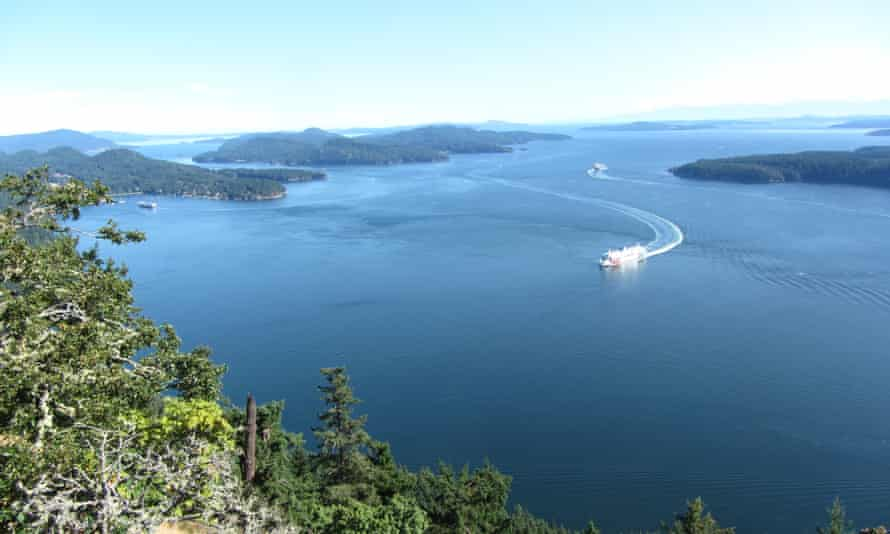 The view from top of Mount Galiano with ferry coming into Sturdies Bay