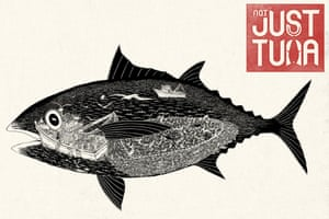 Artwork showing the environmental destruction of commercial tuna fishing.