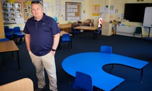 Headteacher Simon Kidwell in a newly configured classroom at Hartford manor primary school in Northwich, Cheshire.